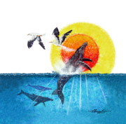 Tropical Birds Art - Flying with Whales by David  Chapple