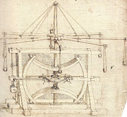 Technical Drawings Framed Prints - Flywheel Mechanical Drawing Framed Print by Leonardo da Vinci