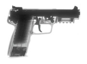 9mm Posters - FN 57 Hand Gun X-Ray Photograph Poster by Ray Gunz