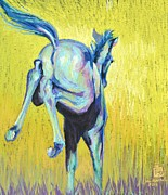 Vibrant Colors Pastels Prints - Foal At Play Print by Sally Buffington