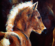 Filly Posters - Foal Chestnut Filly Painting Poster by Ginette Callaway