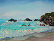 Sonoma County Painting Prints - Foamy Ocean Waves and Sandy Shore Print by Asha Carolyn Young