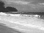 Tunnels Beach Prints - Foamy Surf Pencil Rendering Print by Frank Wilson