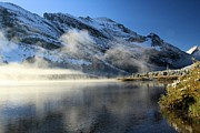 Many Glacier Photos - Fog At Swiftcurrent by Adam Jewell