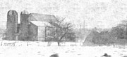 Library Drawings - Fog Down On The Farm by Rosemarie E Seppala