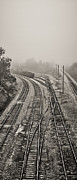 Black Tie Framed Prints - Fog in the Rail Yard 2 b/w Framed Print by Greg Jackson