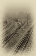 Black Tie Framed Prints - Fog in the Rail Yard Framed Print by Greg Jackson