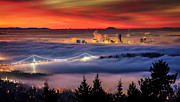 Featured Tapestries Textiles Metal Prints - Fog Inversion over Vancouver Metal Print by Alexis Birkill