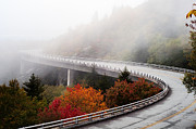 Hillside Art - Fog Obscures the Linn Cove Viaduct by Anne Beatty