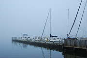 Mantoloking Beach Posters - Fog On The Marina Poster by Angie McKenzie