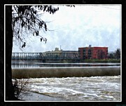 Lakes Drawings - Fog Over Sixth Street Bridge From Fish Ladder Park And Dam Over The Grand River by Rosemarie E Seppala