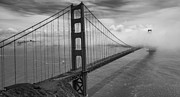 Cloud And Ocean Art Posters - Fog rolling over Golden Gate Bridge black and white Poster by Dave Gordon