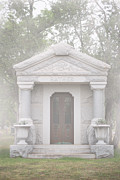 Religious Art Photo Metal Prints - Foggy Cemetery Metal Print by Sonja Quintero