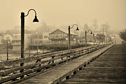 Penn Cove Prints - Foggy Dawn On The Coupeville Wharf Print by Alice Martin