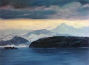 Wa Painting Metal Prints - Foggy Day in Anacortes Metal Print by Eve McCauley