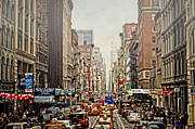 Store Fronts Posters - Foggy Day In The City Poster by Kathy Jennings