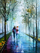 Umbrella Painting Originals - Foggy day NEW by Leonid Afremov