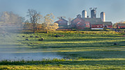 Red Barn. New England Prints - Foggy Farm Morning Print by Bill  Wakeley