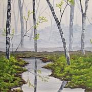 Foggy Forest In Early Spring Print by Anna Bronwyn Foley