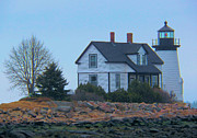 Maine Lighthouses Digital Art Framed Prints - Foggy Harbor Framed Print by Mike Griffiths
