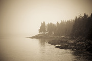 Rocky Coast Prints - Foggy Maine Coast Print by Diane Diederich