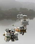 Foggy Moorings Print by Carl Jacobs