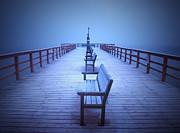 Benches Photos - Foggy Morning at the Pier by Tara Turner