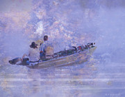 Foggy Digital Art Prints - Foggy Morning Fishermen Print by J Larry Walker