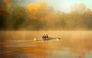 Yellow Line Prints - Foggy Morning on the Chattahoochee Print by Darren Fisher