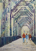 Willamette River Framed Prints - Foggy Morning on the Railway Bridge Two Framed Print by Jenny Armitage