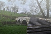 Burnsides Bridge Prints - Foggy morning over the Antietam creek Print by Dave Sandt