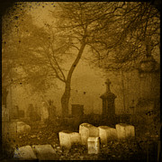 Halloween Scene Posters - Foggy Necropolis Poster by Gothicolors And Crows