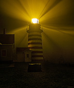 Marty Posters - Foggy Night at West Quoddy Head Light-2 Poster by Marty Saccone