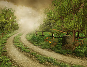 Canvas Pyrography - Foggy Road by Boon Mee