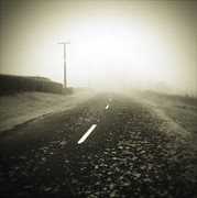Country Prints - Foggy road  Print by Les Cunliffe