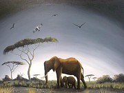 Hilton Mwakima Art - Foggy savannah by Hilton Mwakima