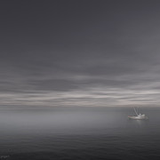 Boat Minimalism Digital Art - Foggy Stillness by Lourry Legarde