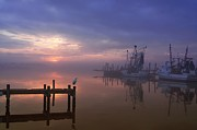 Docked Boats Framed Prints - Foggy Sunset over Swansboro Framed Print by Benanne Stiens