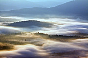 Light Rays Prints - Foggy Valley Print by Rob Travis