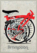 Fixed Gear Posters - Folded Brompton Bike Poster by Andy Scullion