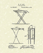Table Drawings Prints - Folding Table 1878 Patent Art Print by Prior Art Design