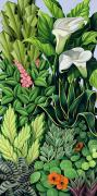 Lush Green Painting Posters - Foliage Poster by Catherine Abel