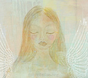 Brown Paintings - Folk Angel Light  and Grace by Sacred  Muse