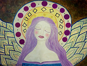 Blessings Paintings - Folk Angel Primitive Blessings  by Sacred  Muse