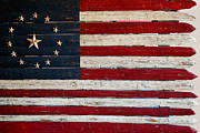 Slates Prints - Folk Art American Flag Print by Art Block Collections