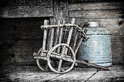 Rustic Metal Prints - Folk Art Cart Still Life Metal Print by Tom Mc Nemar