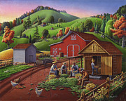 Folk  Paintings - Folk Art Corn Harvest Rural Farm Country Life Americana Landscape by Walt Curlee