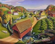 New England Farms Framed Prints - folk art farm Covered Bridge Appalachian Landscape Americana American country mountain oil painting Framed Print by Walt Curlee