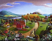 Countryside Painting Posters - Folk Art Farm Fairy Tale Tail Blackberry Patch Rural Country Life Scene American Americana Landscape Poster by Walt Curlee