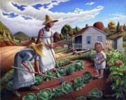 Family Farm Painting Prints - folk art farm Family Garden rural country Americana American scene Appalachian life landscape Print by Walt Curlee